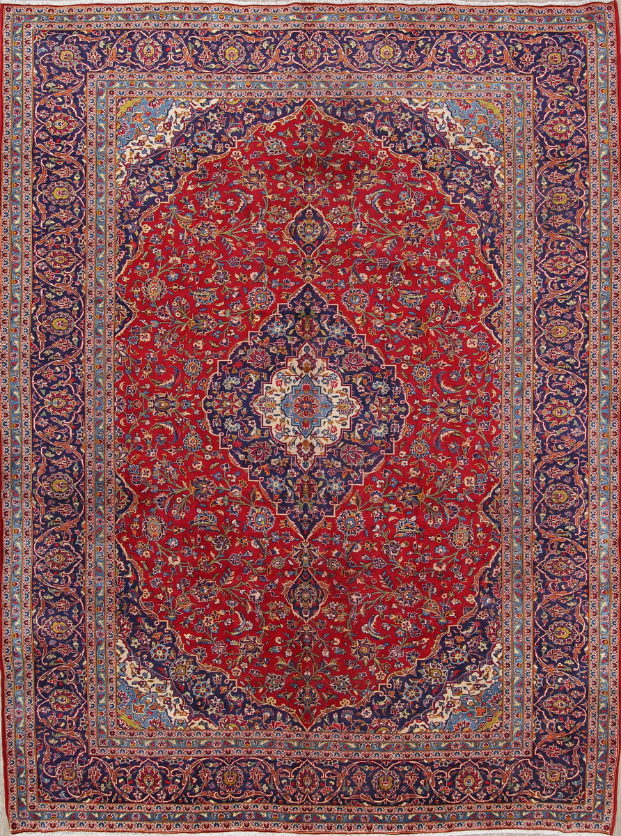 Wool Traditional Red Fl Kaashaan Persian Oriental Area Rug 10x14 Handknotted