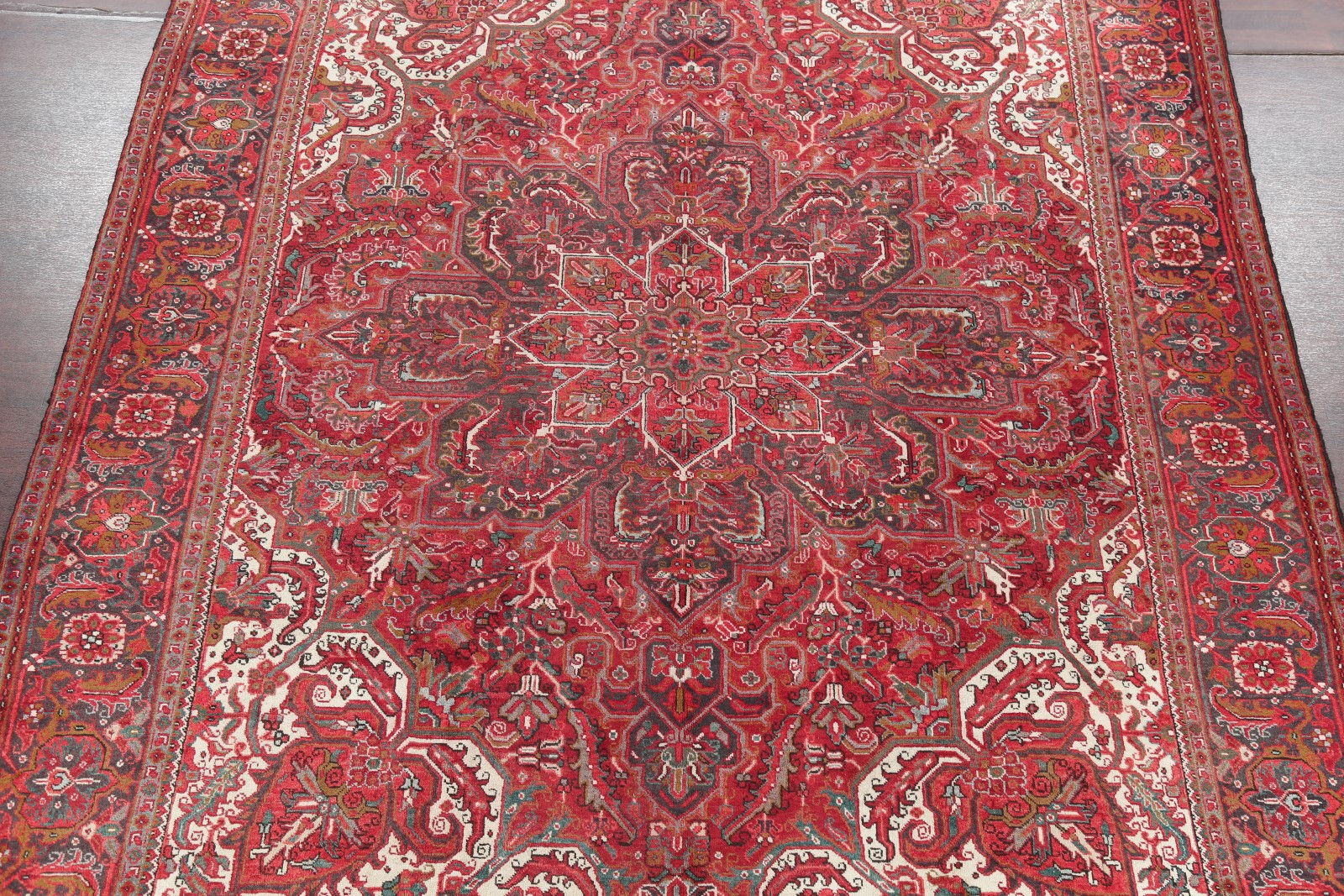 Vintage Geometric Red 10x13 Oriental Area Rug Hand Knotted