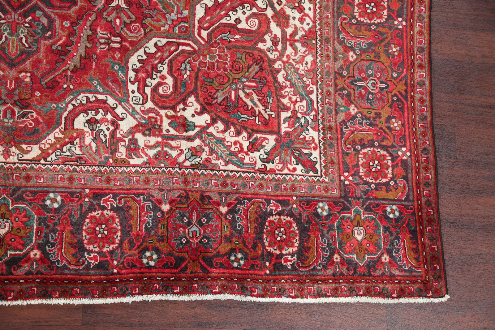 Vintage Geometric Red 10x13 Heriz Persian Oriental Area