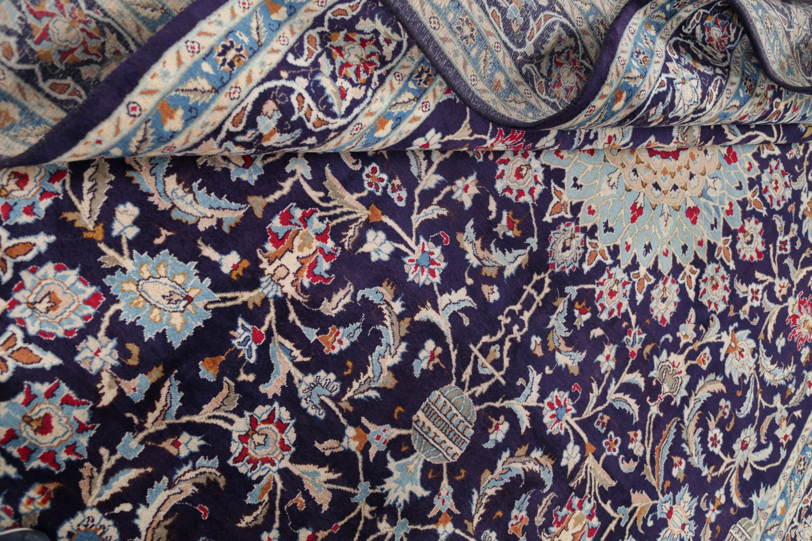One Of Kind 10x13 Navy Blue Floral Kashmar Persian