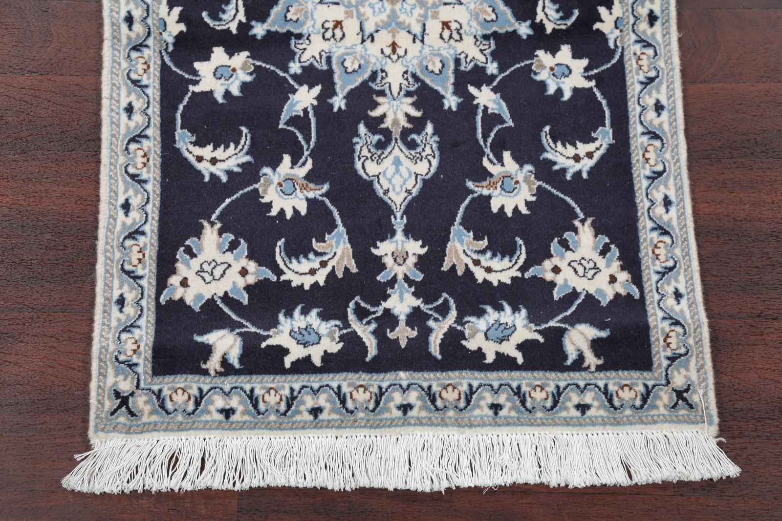 100 Wool Amp Silk Navy Blue Floral Nain Oriental Area Rug