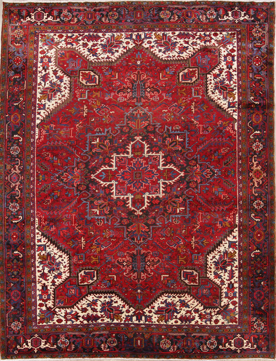 Details About Spectacular Geometric Red Oriental Area Rug Wool Hand Knotted 10x12ft