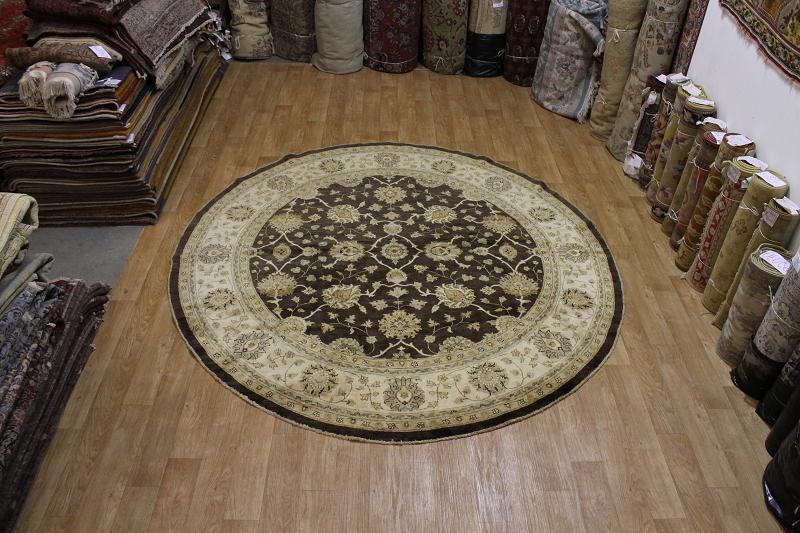 Large dark brown round 10x10 oushak chobi persian oriental for 10x10 carpet