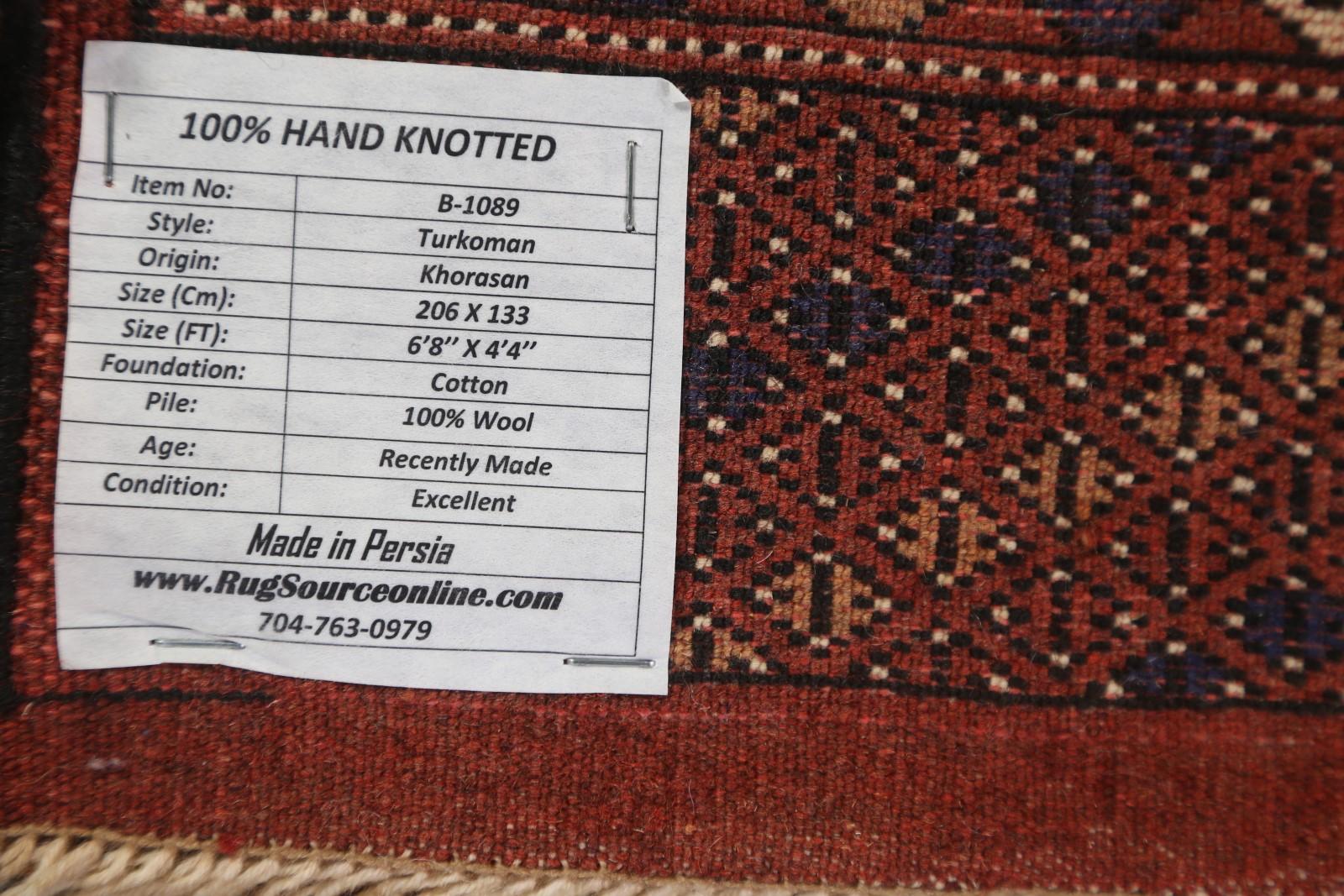 New 250 Knots Geometric 4x7 Turkoman Persian Oriental Area