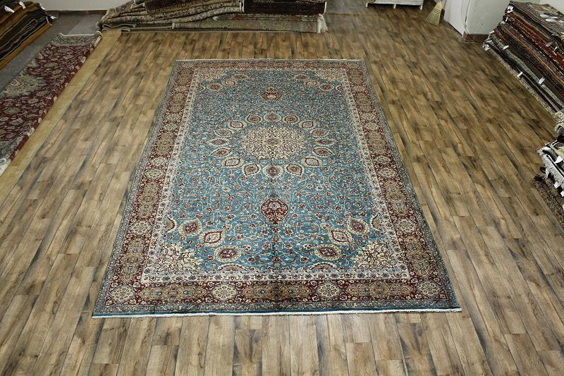 Turquoise Blue Oversized 10x16 Signed Tabriz Persian
