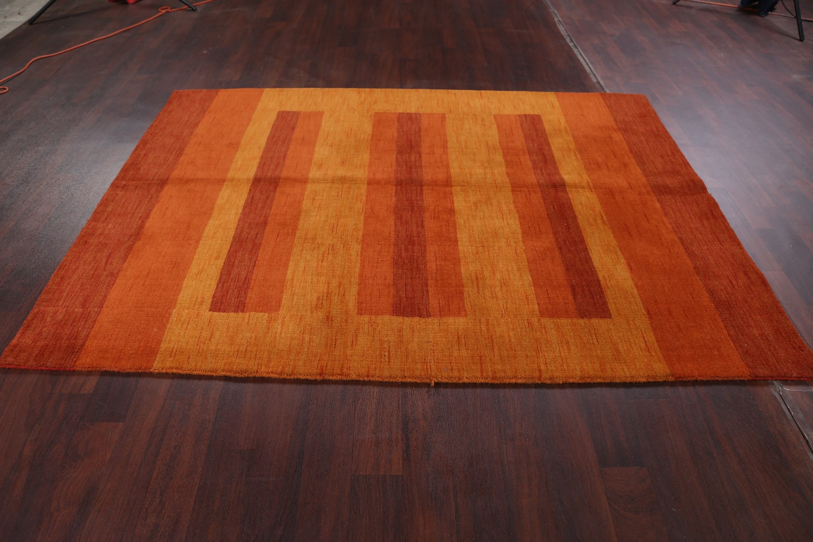100 Wool Striped Design Rust Orange Modern 6x8 Gabbeh