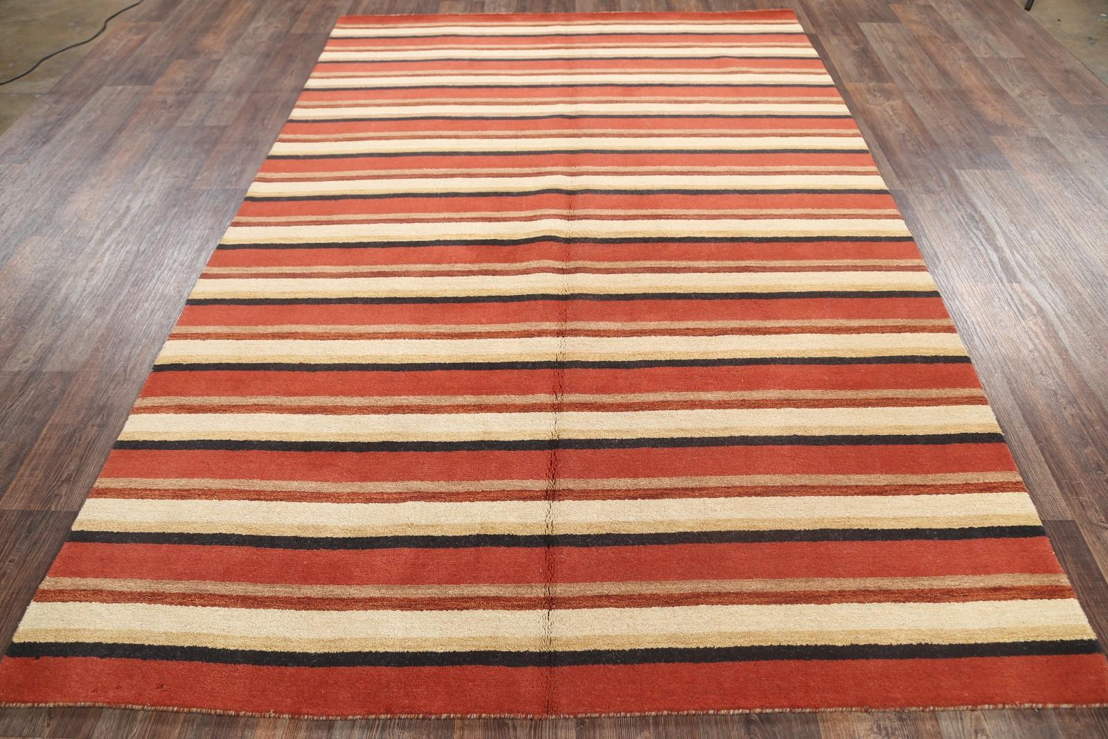 Stripe Loom Multi Colored Modern Gabbeh Oriental Hand