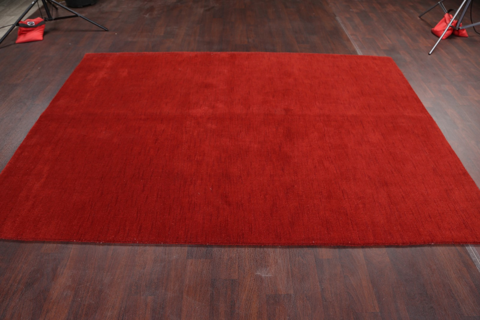 Contemporary Solid Red Gabbeh Oriental Hand Knotted Modern