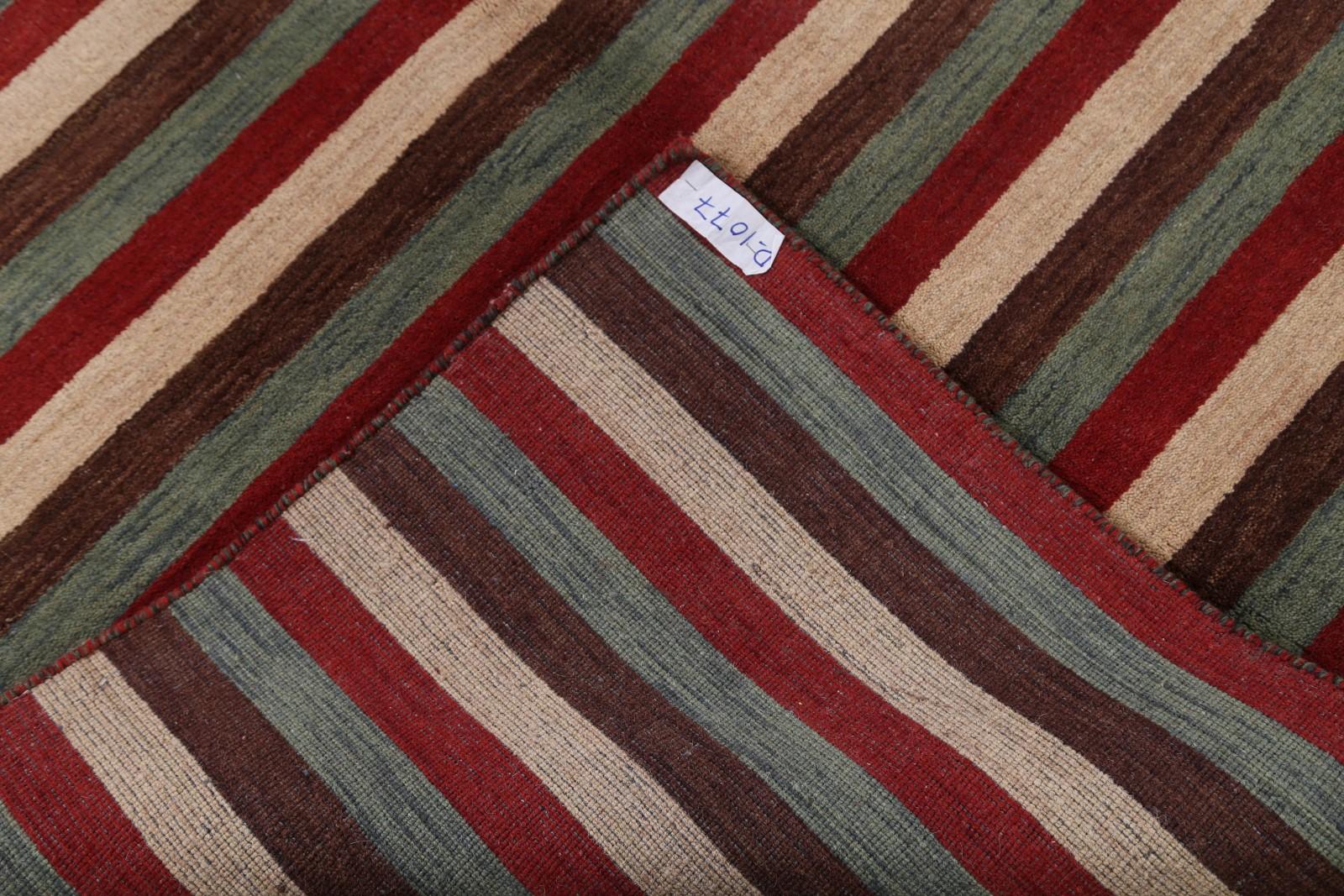 100 Wool Striped Design Modern 6x8 Gabbeh Indian Oriental