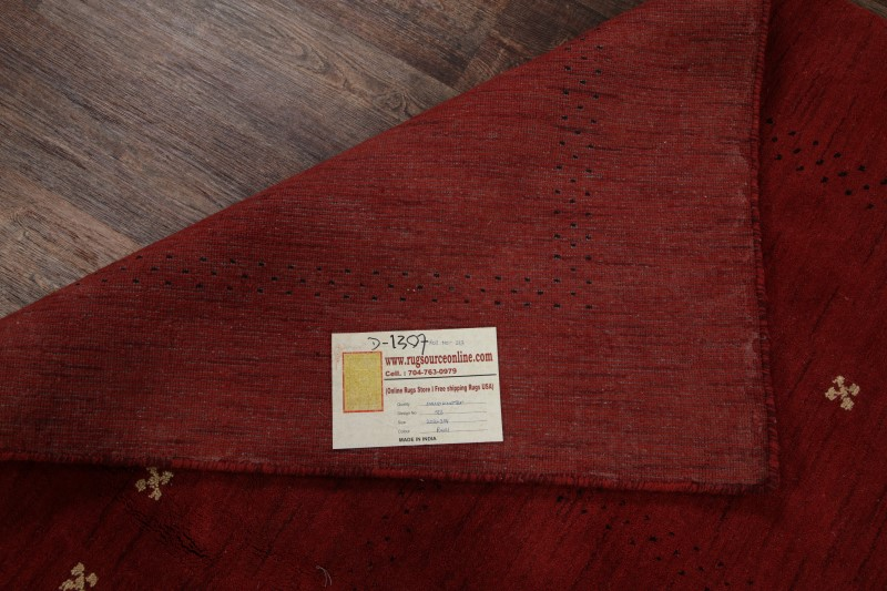 Hand Knotted Contemporary Red Modern 6x9 Gabbeh Indian