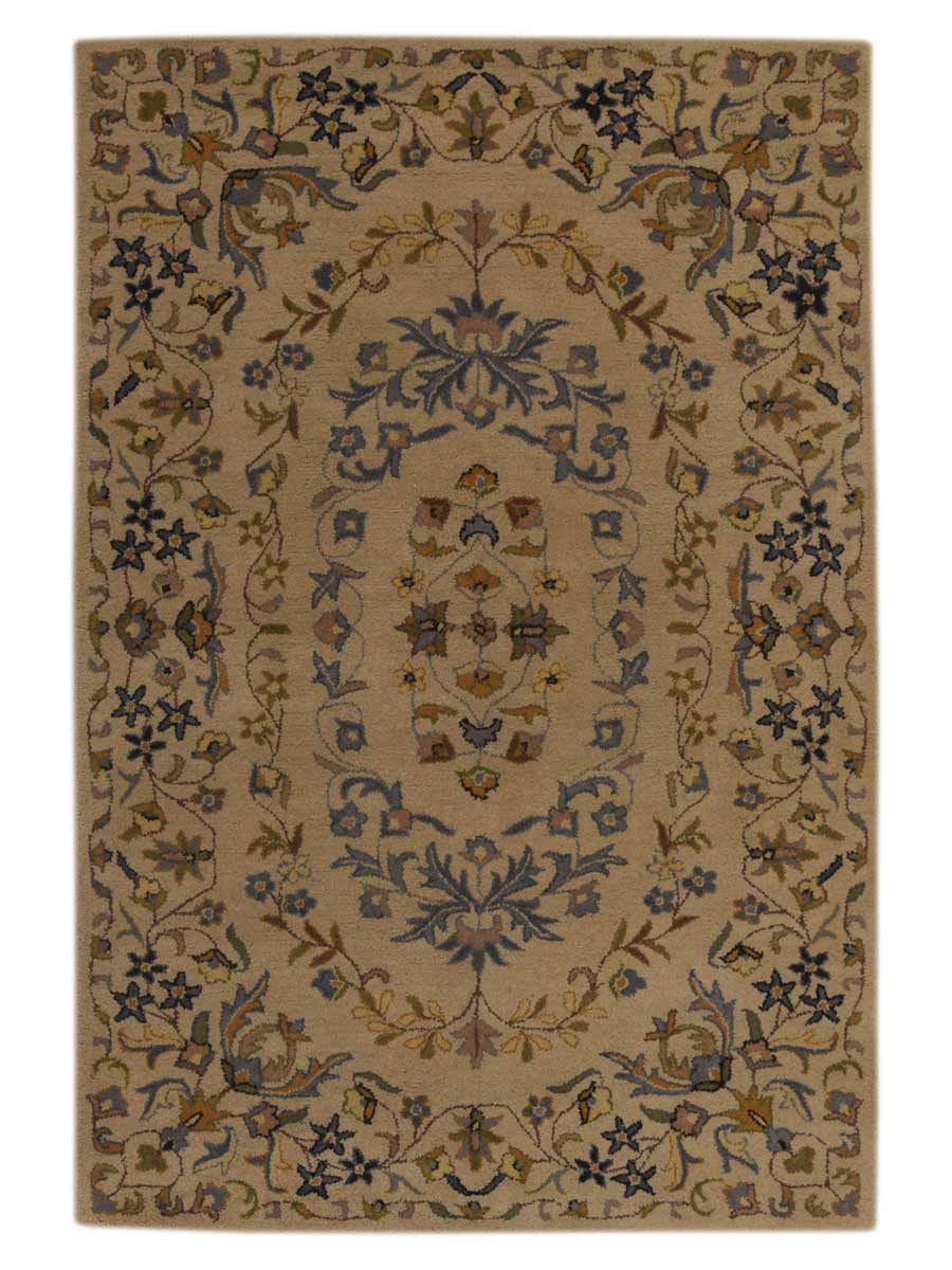Hand Tufted Classic Floral Ivory 5x8 Kashan Agra Persian