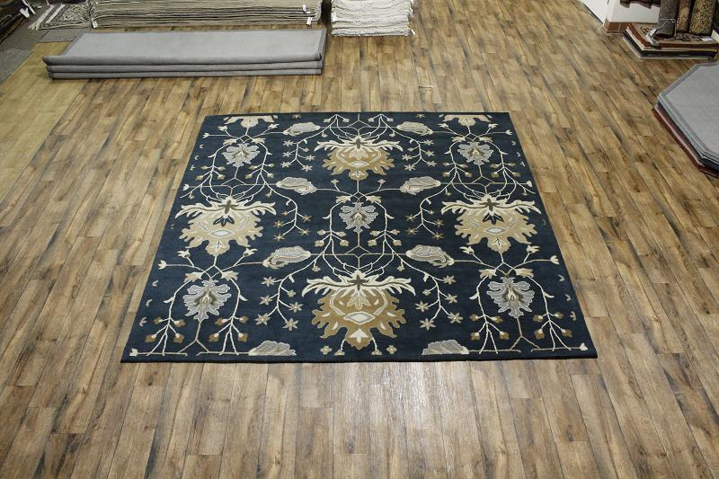 Large Floral Blue Square 10x10 Oushak Oriental Area Rug