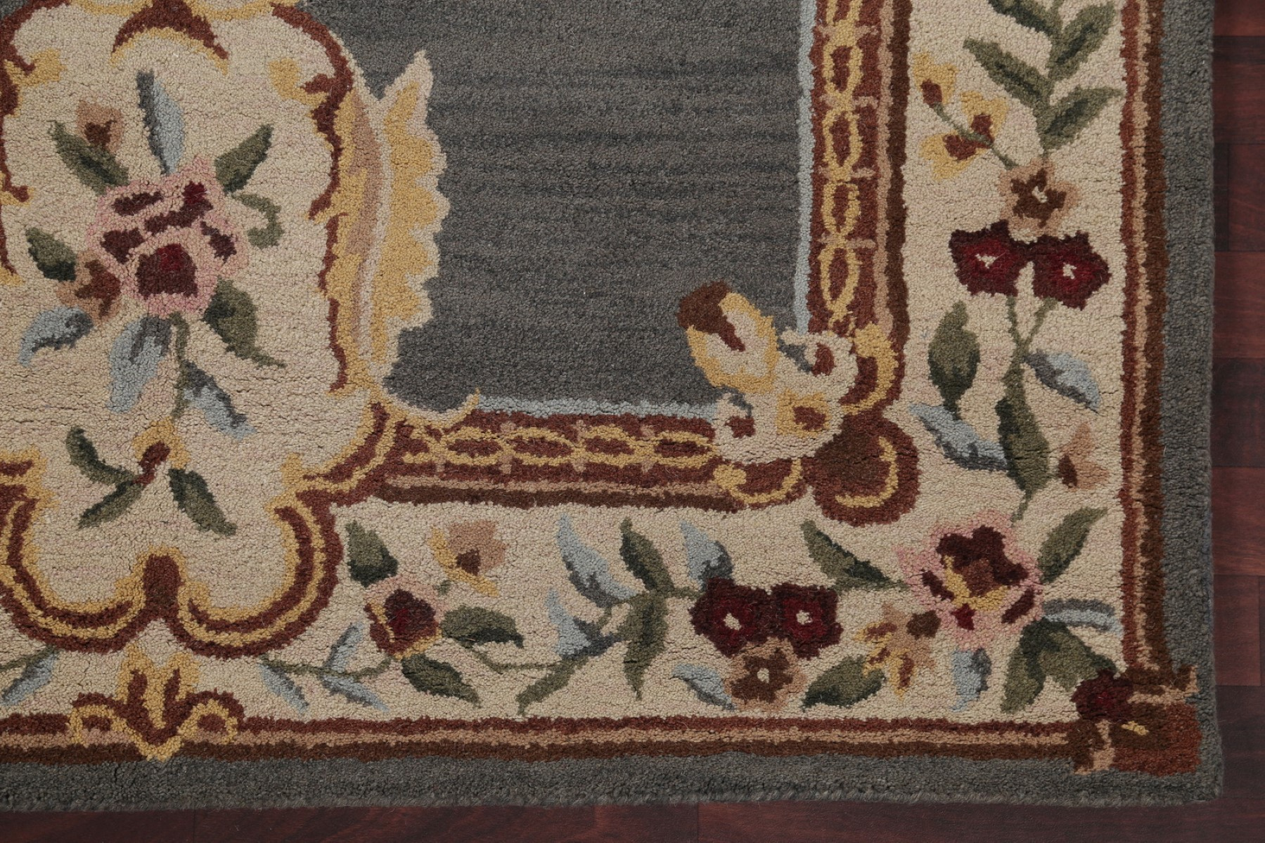 Transitional Floral Grey Blue Aubusson Oriental Hand