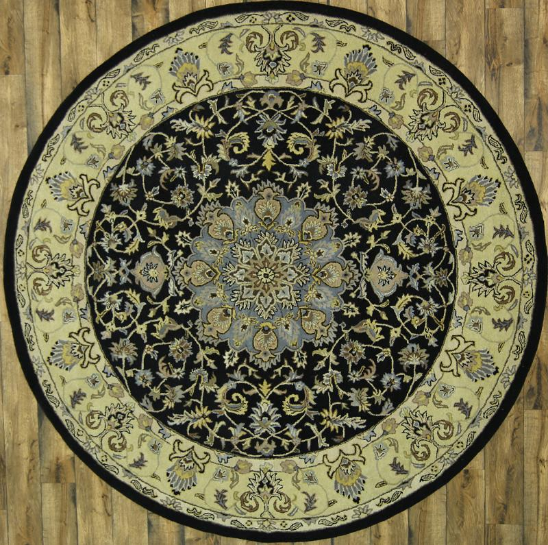 10x10 Square New Oushak Oriental Wool Area Rug: Traditional Floral Black Round 10x10 Tabriz Persian