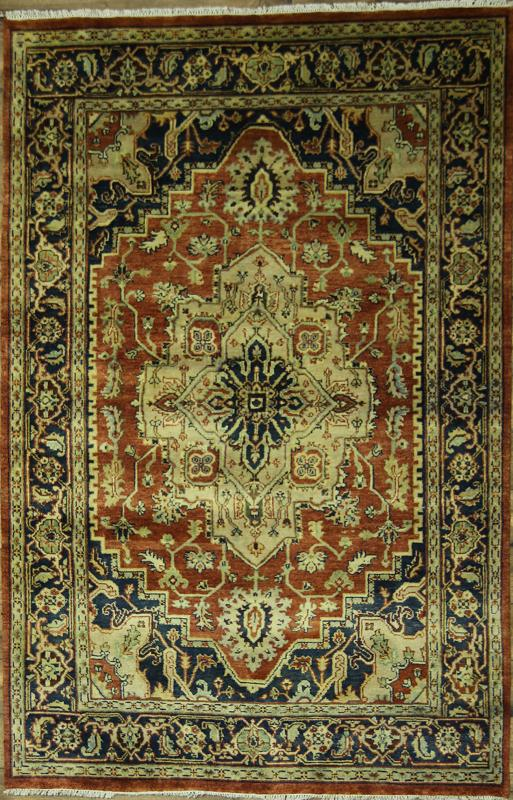 Great Deal Handmade Geometric 6x9 Indo Heriz Oriental Area RUG Wool Carpet : eBay