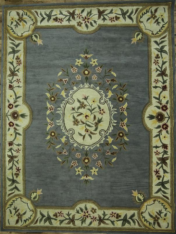 French Oriental Rugs : Gray blue handmade floral aubusson french style