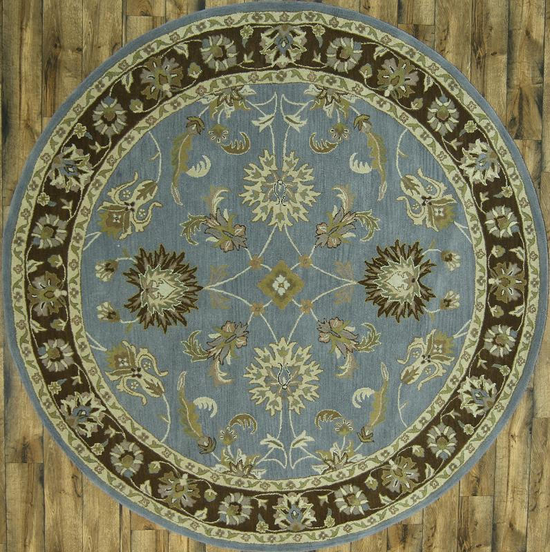 10x10 Square New Oushak Oriental Wool Area Rug: Hand Tufted OF Light Blue Round 7x7 Oushak Oriental Area
