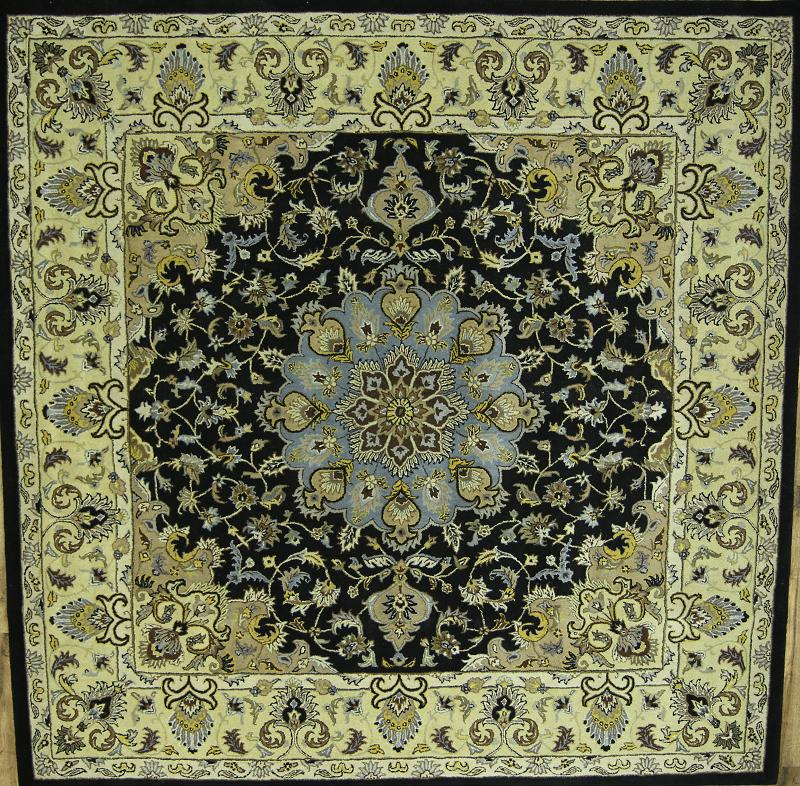 10x10 Square New Oushak Oriental Wool Area Rug: 100% Wool Traditional Floral Black Square 12x12 Oushak
