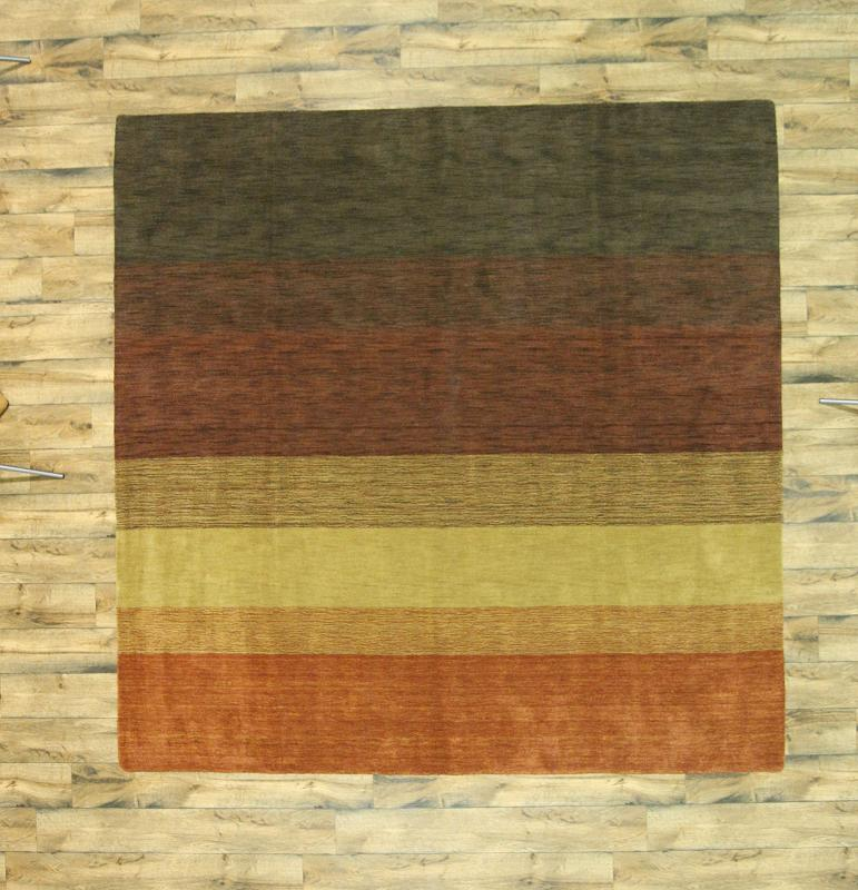 10x10 Square New Oushak Oriental Wool Area Rug: Striped Design Contemporary Gabbeh Hand-Knotted Oriental