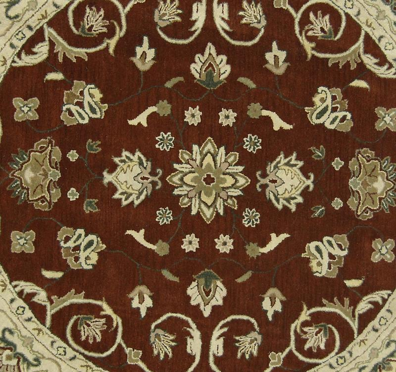Shop Oushak Floral Tufted Wool Persian Oriental Area Rug: Hand Tufted Of Burgundy Floral Round 8x8 Oushak Oriental