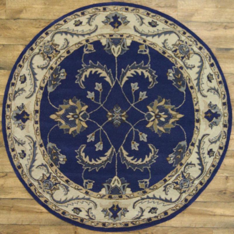 100 Wool Persian Area Rug: 100% Wool Classic Floral Blue 6x6 Tabriz Agra Persian