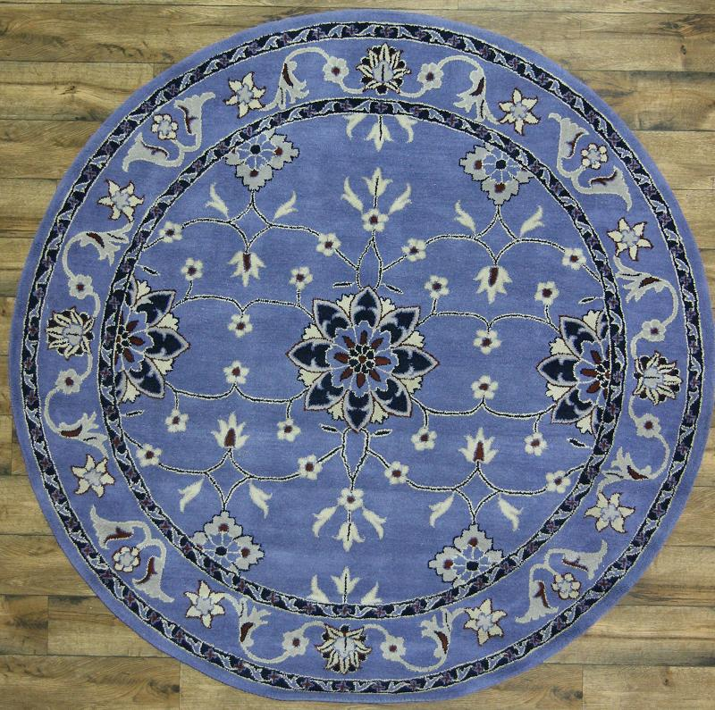 Fine Round Persian Bidjar Area Rug Hand Knotted Wool And: Hand Tufted Blue Floral Round 8x8 Oushak Oriental Area Rug