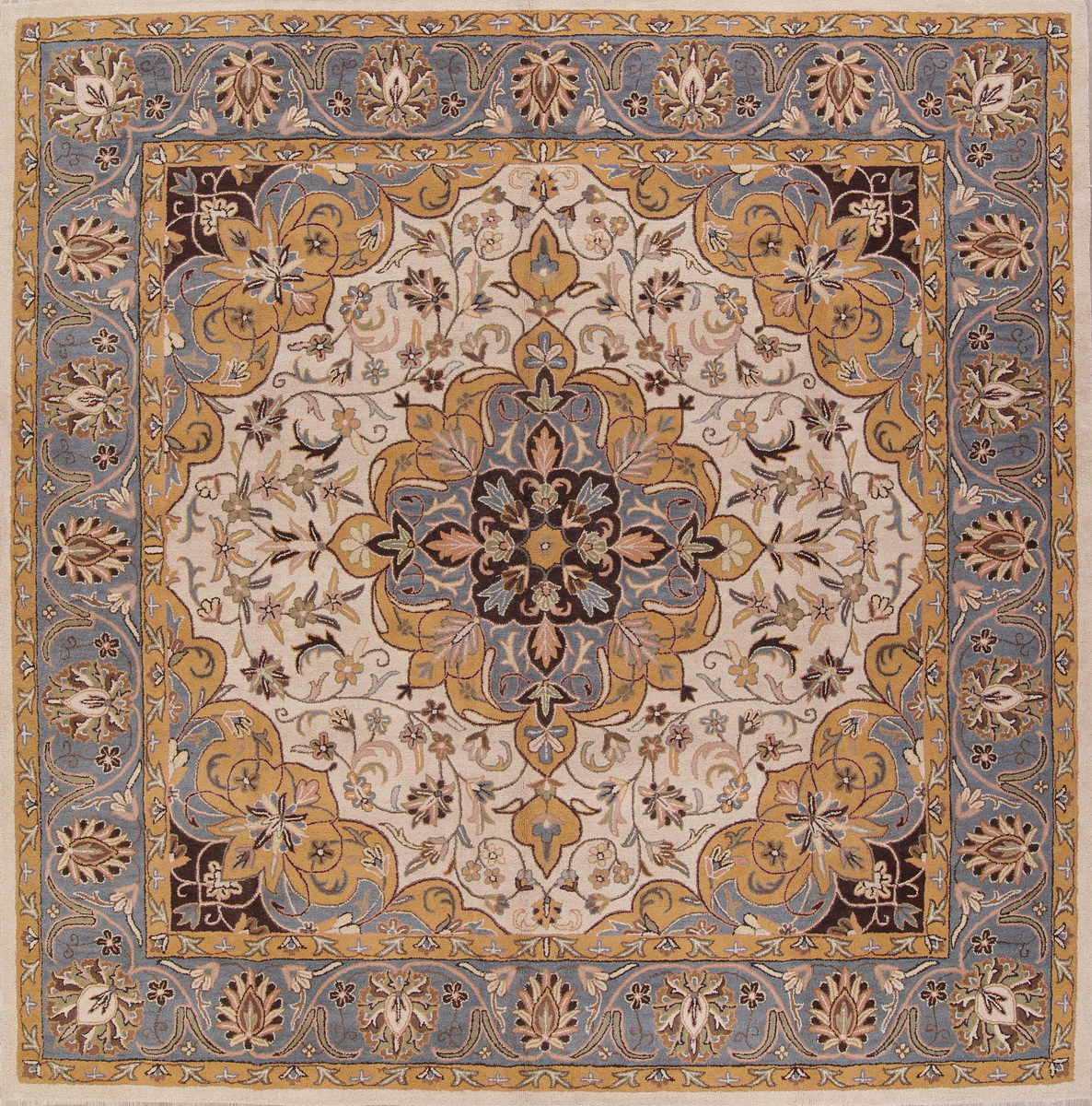 10x10 Square New Oushak Oriental Wool Area Rug: Hand-tufted Floral Square Oushak Indian Oriental Ivory Rug