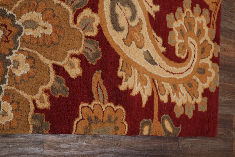Traditional Floral Paisley Red Oushak Hand Tufted Oriental