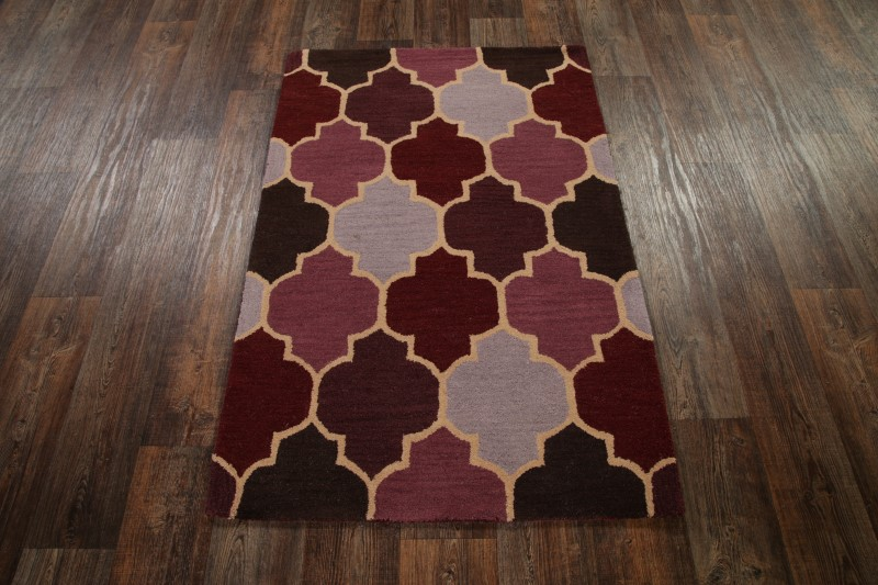 Geometric Hand Tufted Quilt Oriental Area Rug Wool Modern