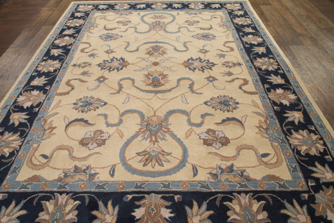 Hand Tufted Classic Fl Ivory 9x12 Oushak Agra Oriental Area Rug Wool Carpet