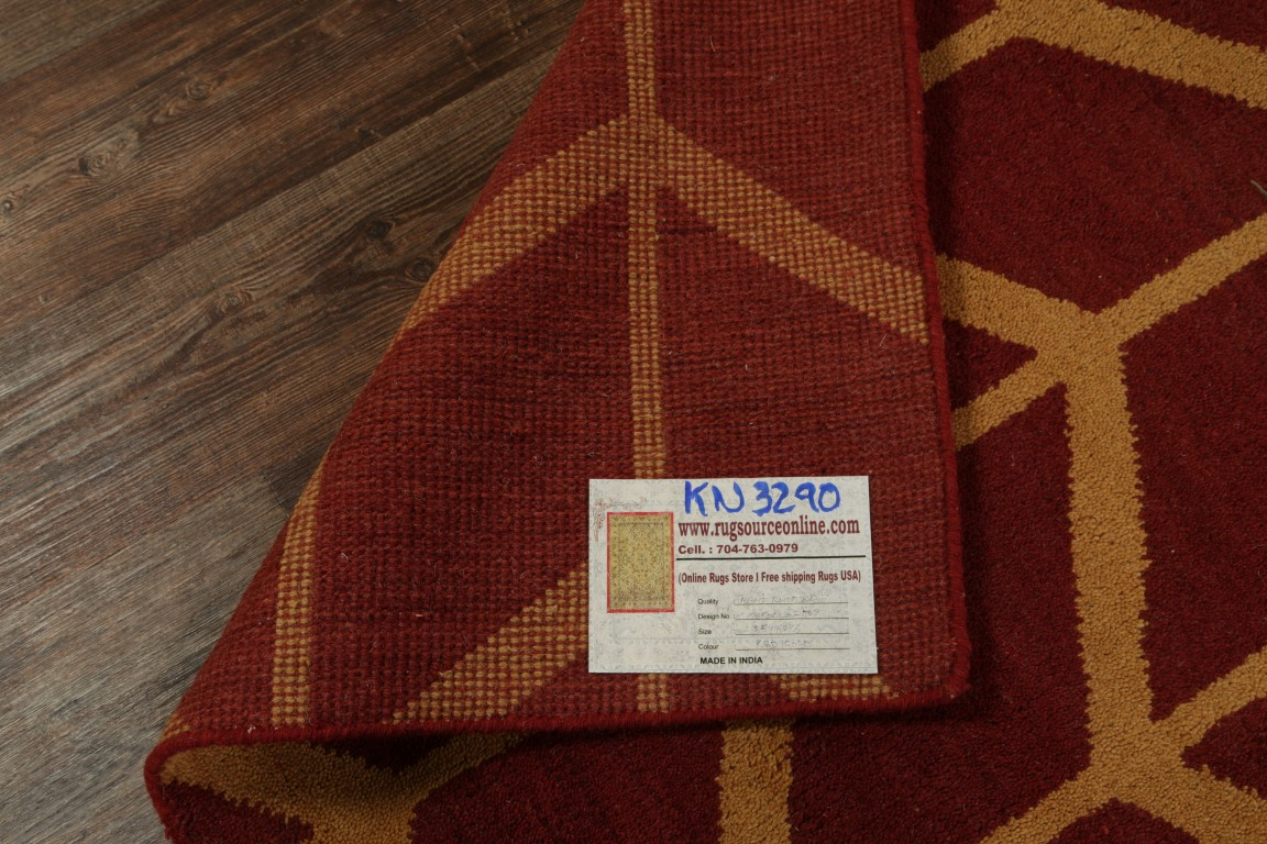 100 Wool Hand Knotted Red Modern 8x10 Moroccan Trellis