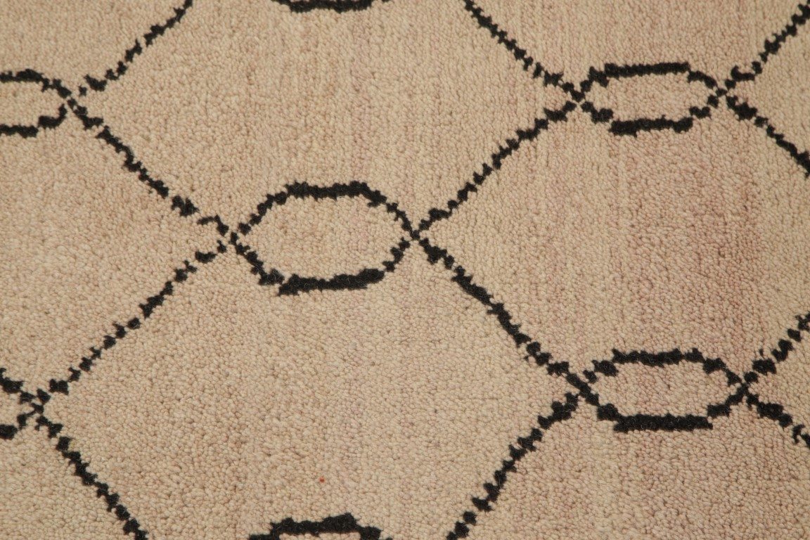 Geometric Earth Tone Moroccan Oriental Hand Knotted Modern