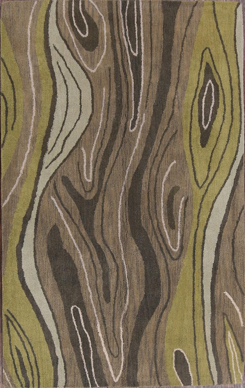 100 Wool Modern Green Hand Tufted 5x8 Gabbeh Oriental