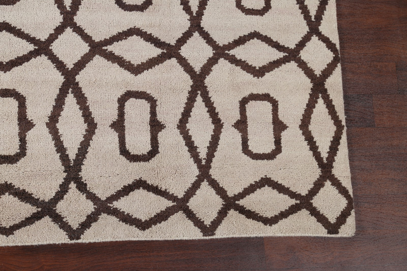 Geometric Modern Moroccan Oriental Hand Knotted Wool Ivory
