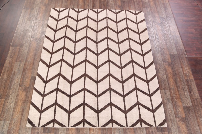 Hand Knotted Thick Pile Modern 8x10 Moroccan Trellis