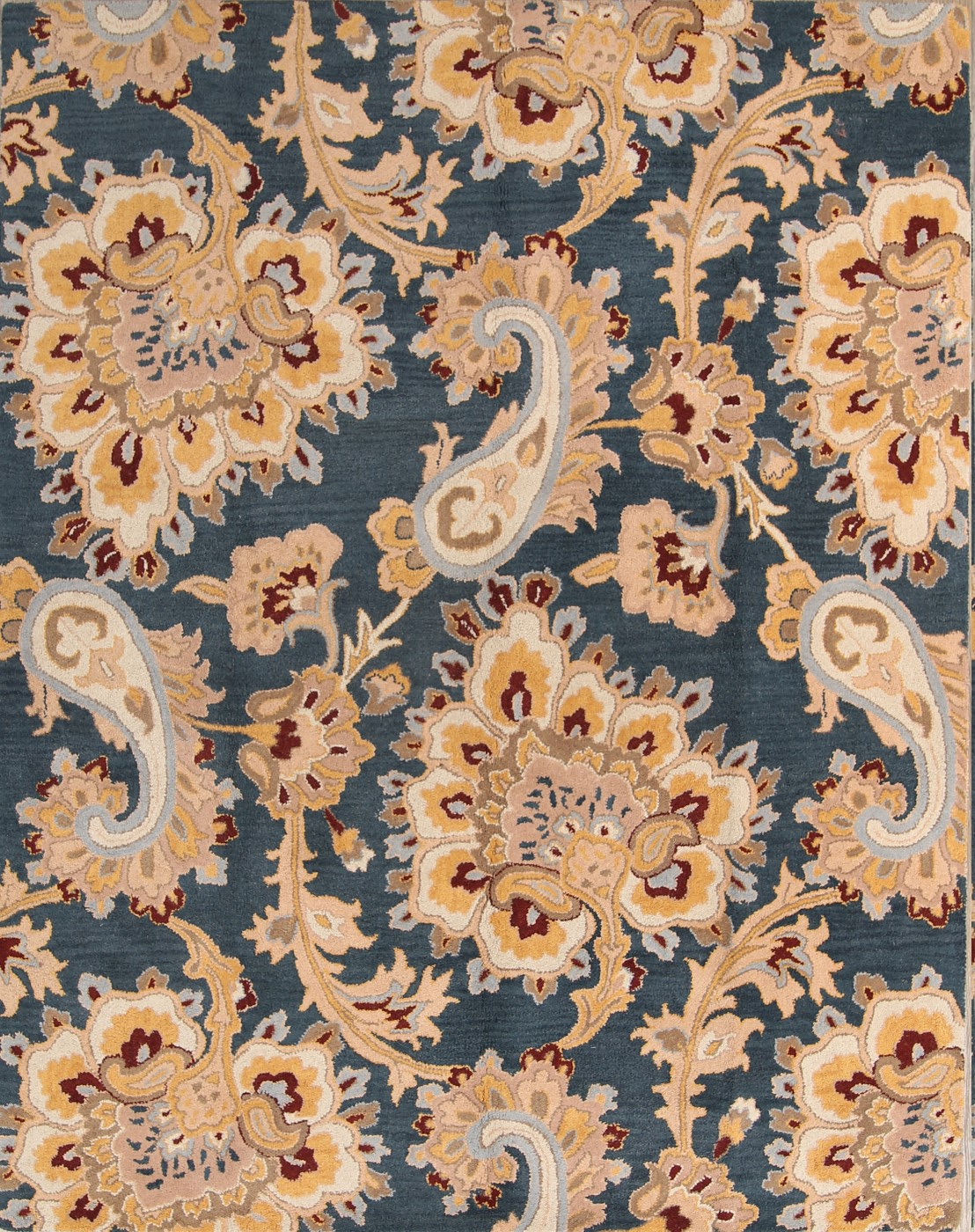 Traditional Floral Paisley Charcoal Gold Oriental Hand