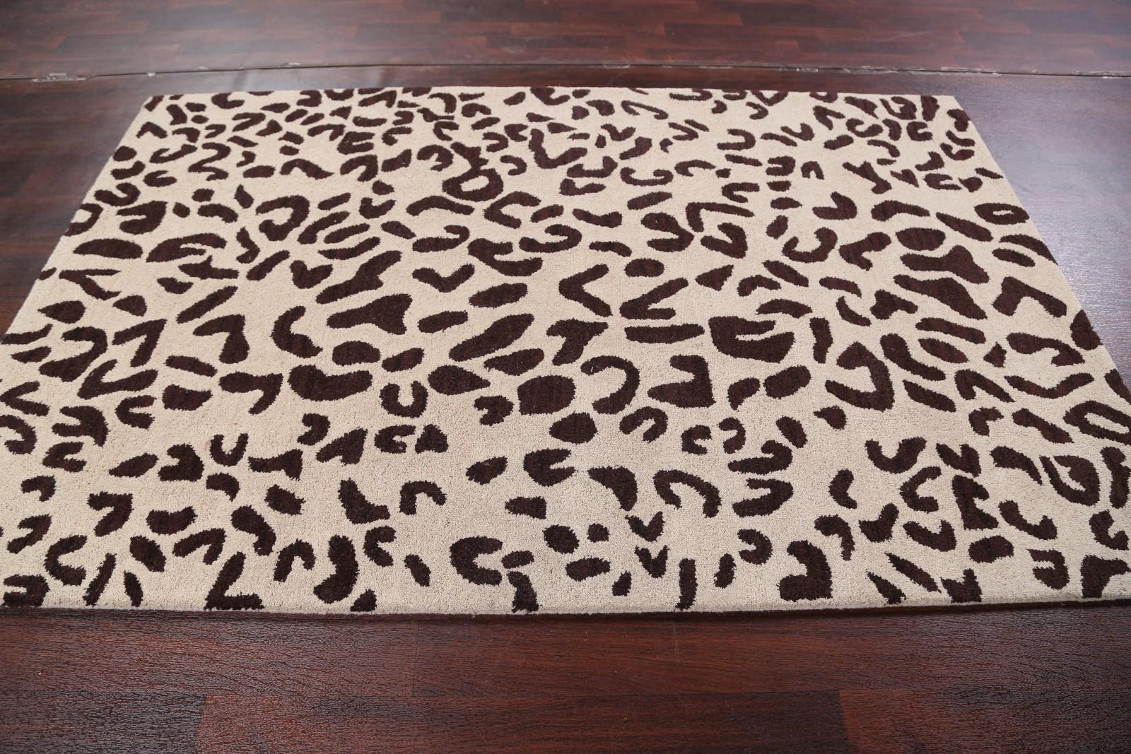 Hand Tufted Oushak Animal Leopard Zebra Print Oriental