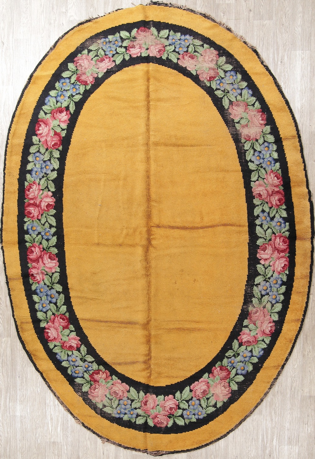 Details About Antique Oval Shape Floral Gold Savonnerie French Art Deco Oriental Rug Wool 8x11
