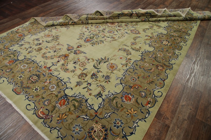 hand knotted floral sage green 10x14 kashan persian oriental area rug 14 39 0 x 9 39 5 ebay. Black Bedroom Furniture Sets. Home Design Ideas