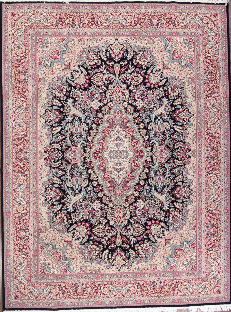 New Breathtaking Floral Black 10x13 Kerman Persian Area