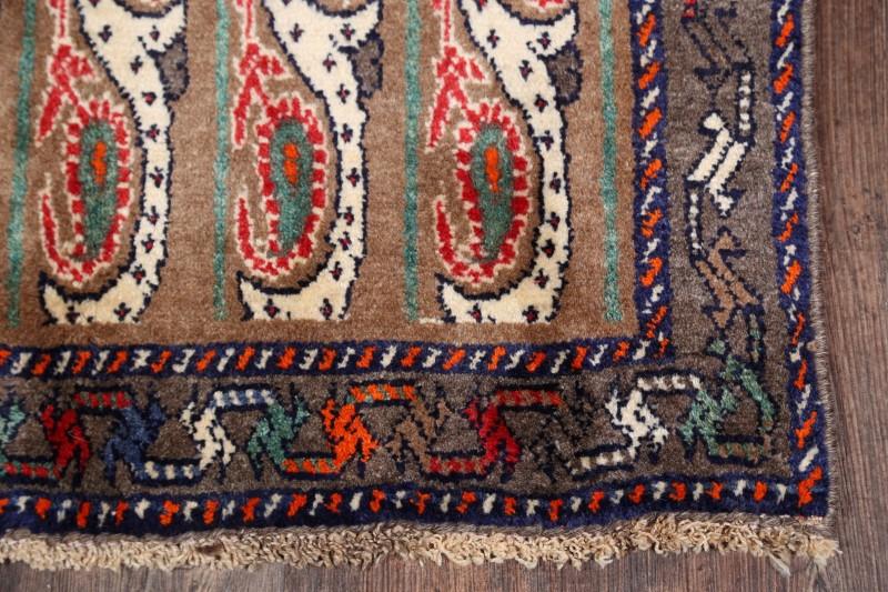 Natural Dye Paisley Runner 3x9 Gabbeh Moharamat Persian