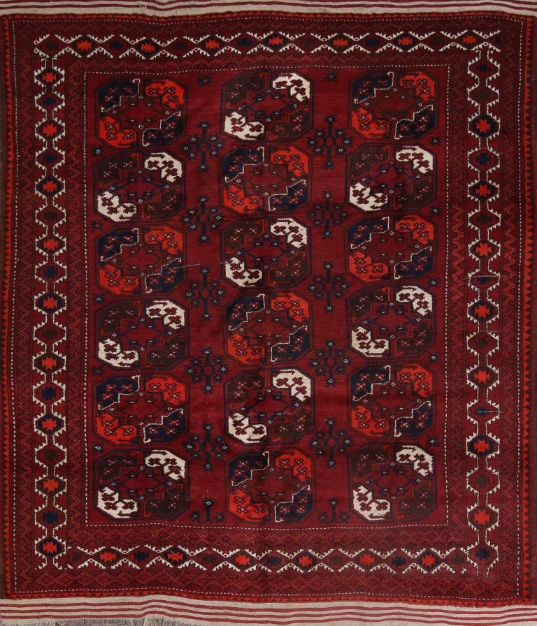 Breathtaking Large Geometric Red 10x12 Bakhtiari Persian: Vintage Geometric Near Square Balouch Afghan Oriental Area