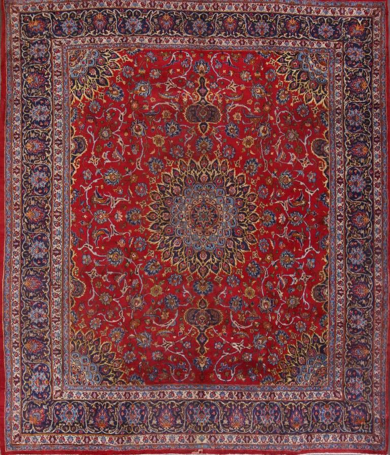 Semi-Antique Square 10x11 Signed Mashad Persian Oriental