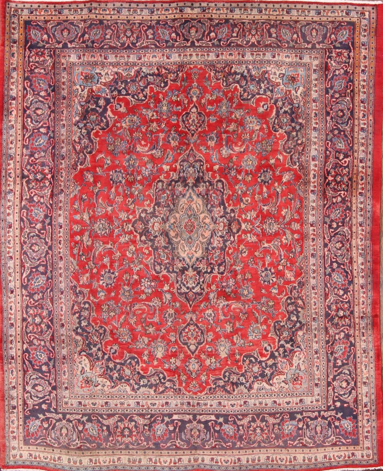 10x10 Square New Oushak Oriental Wool Area Rug: Hand Knotted Traditional Floral Red 8x10 Mashad Persian