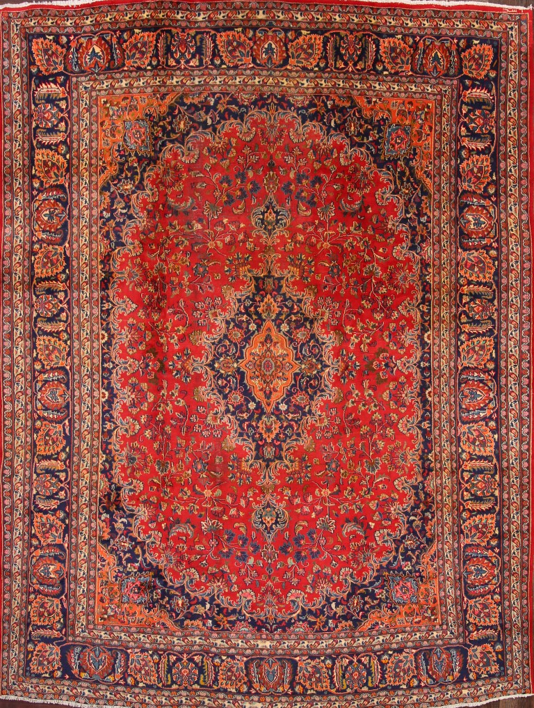 Great Deal Floral Red Wool 10x13 Mashad Persian Oriental