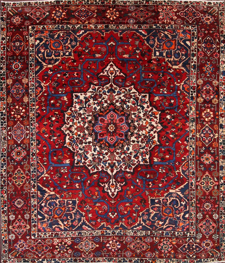 10x10 Square New Oushak Oriental Wool Area Rug: Breathtaking Large Geometric Red 10x12 Bakhtiari Persian