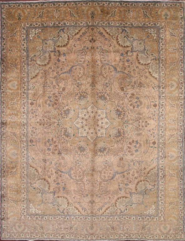 Antique Geometric Muted Color 10x13 Tabriz Persian