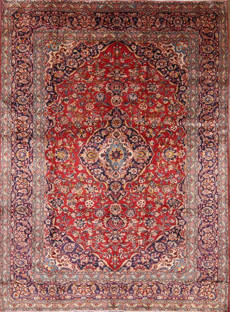 Hand Knotted Traditional Floral Red Navy 8x11 Kashan