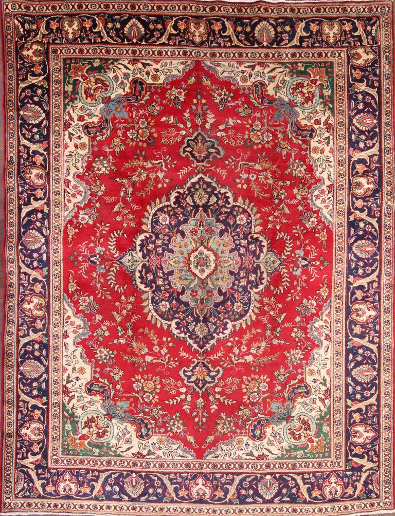 Semi Antique Geometric Red 9x12 Tabriz Persian Oriental