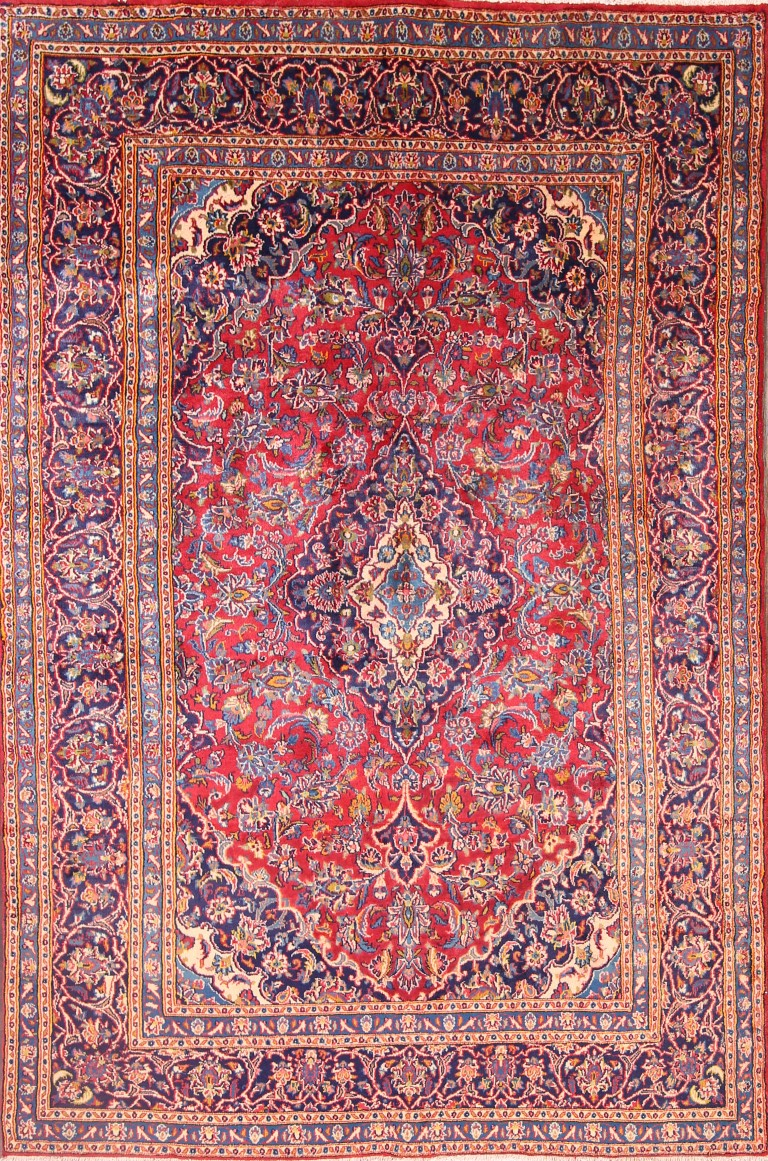 Hand Knotted Traditional Red Room Size 6x9 Mashad Persian